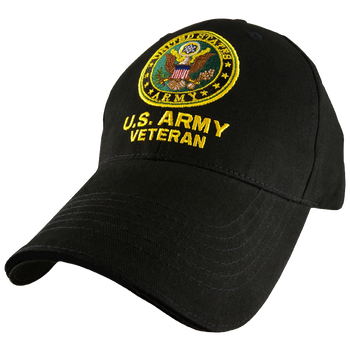 249d69d700b 5344 - U.S. Army Veteran Cap - Cotton - Black