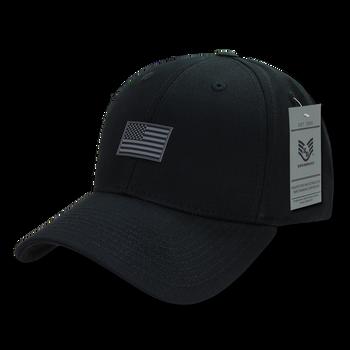 A07 - USA Cap - Rubber USA Flag - Cotton - Structured - Black 9c7b4436eae