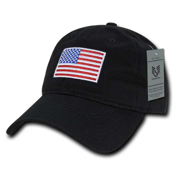 A03 - USA Flag Cap - Relaxed Fit - Cotton - Black
