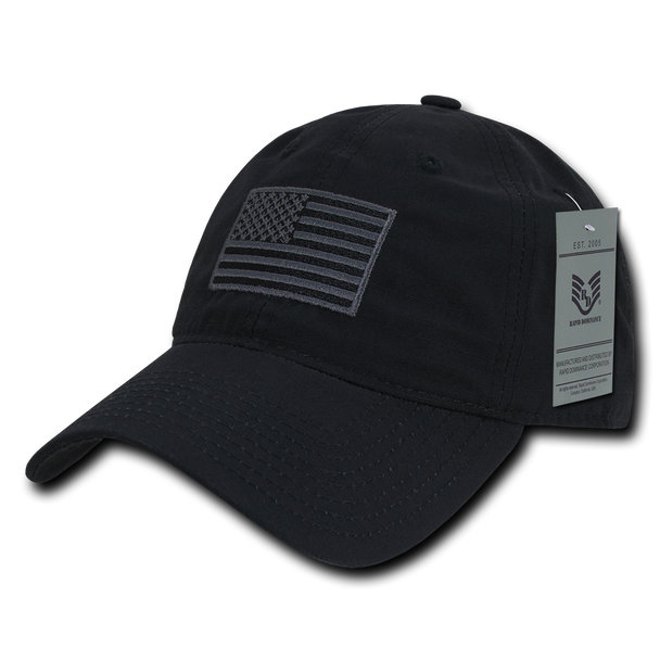 S73 - USA Flag Cap - Relaxed Ripstop - Cotton - Black