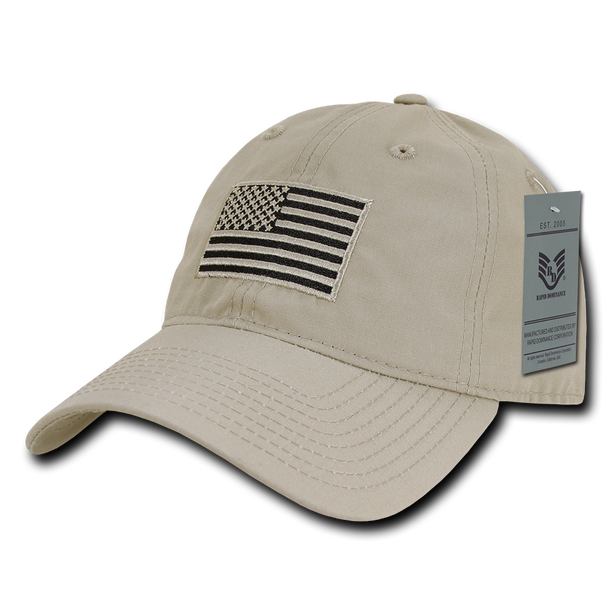 S73 - USA Flag Cap - Relaxed Ripstop - Cotton - Khaki