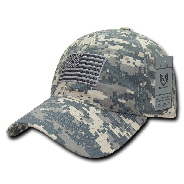 S73 - USA Flag Cap - Relaxed Ripstop - Cotton - ACU Digital Camouflage