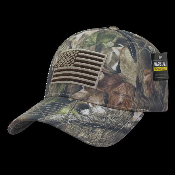 T87 - HYBRiCAM Tactical USA Flag Cap - Structured Cotton - Grey Bark HYBRiCAM