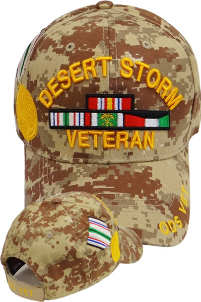 d37d021488f07 Desert Storm Veteran Cap With Medal and Ribbons - Desert Digital Camouflage