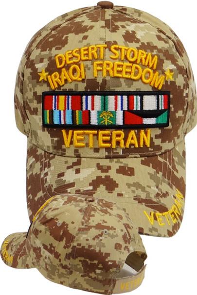 Desert Storm Iraqi Freedom Veteran Cap - Desert Digital Camouflage