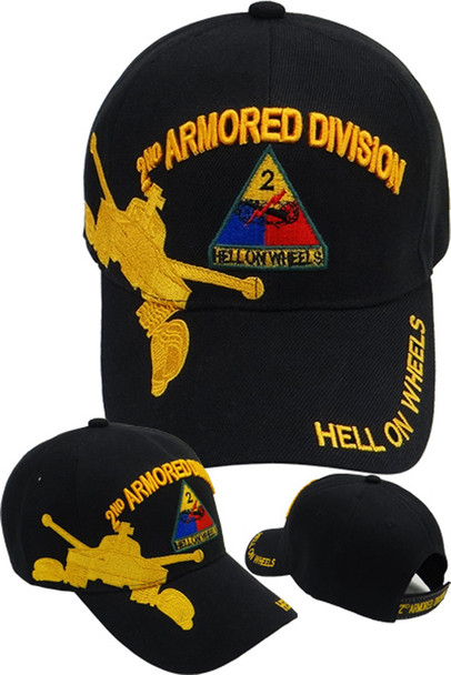 2nd Armored Division Caps - Hell On Wheels - Black