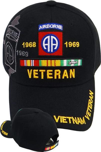 Vietnam Veteran 82nd Airborne Shadow Cap - Black