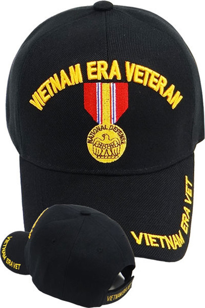 Vietnam Era Veteran Cap - National Defense Medal - Black