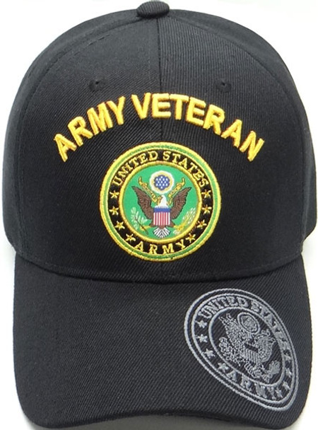 Army Veteran Cap With Army Seal - Black