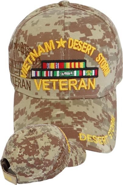 Vietnam Desert Storm Veteran Cap with Ribbons - Desert Digital Camo