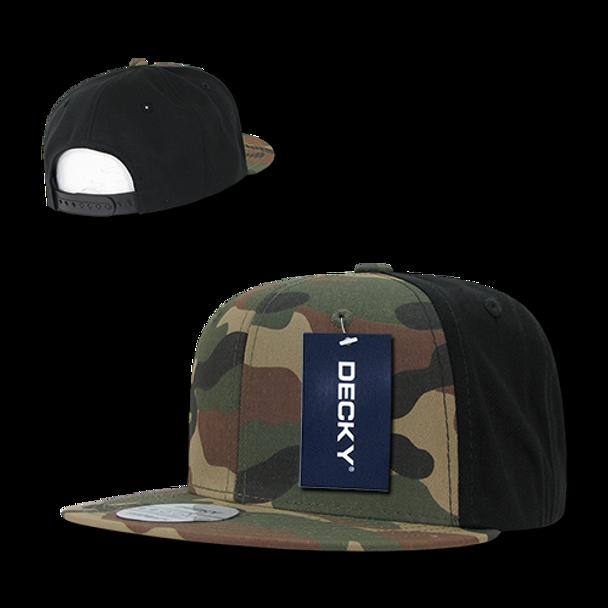 Camo Cotton Snapback Cap - Woodland Camouflage Woodland Camouflage Black -  U.S. Military Hats 77afd08a0203