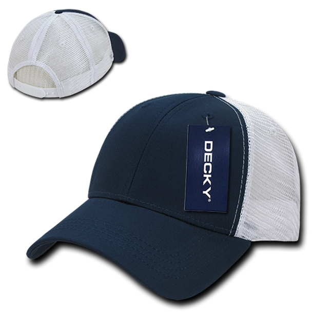 Low Crown Mesh Golf Cap - Navy Blue White - USMILITARYHATS.COM 6e68480ec62
