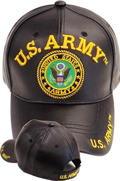 21c51dec4e8690 U.S. Army Emblem Cap - Faux Leather Black - USMILITARYHATS.COM