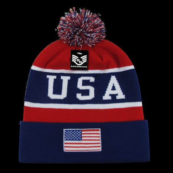 USA Flag Pom Pom Beanie Cap - Red, White, Blue