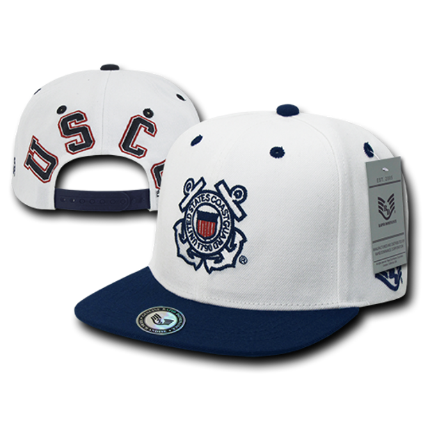 S006 - U.S. Coast Guard Flat Bill Snap Back Cap - White/Blue