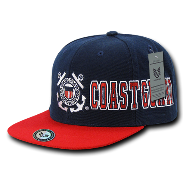 S005 - U.S Coast Guard Cap Flat Bill Snap Back - Blue/Red