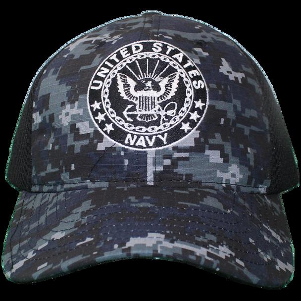 26030 - U.S. Navy Cap - Made in USA - Blue Digital Camo/Black Mesh