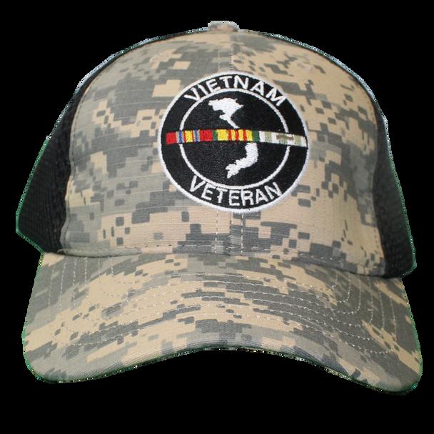 26054 - Vietnam Veteran Cap - Made in USA - Digital Camo/Black Mesh