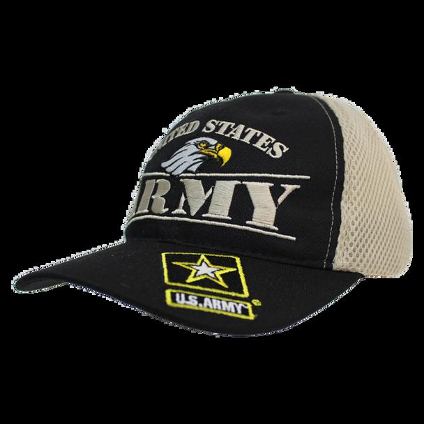 24340 - U.S. Army Cap - Made in USA - Black/Khaki Mesh
