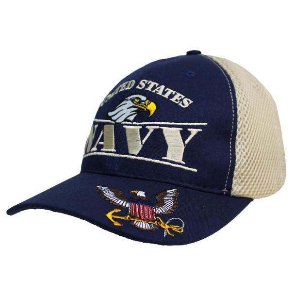 24357 - U.S. Navy Cap - Made in USA - Navy/Khaki Mesh