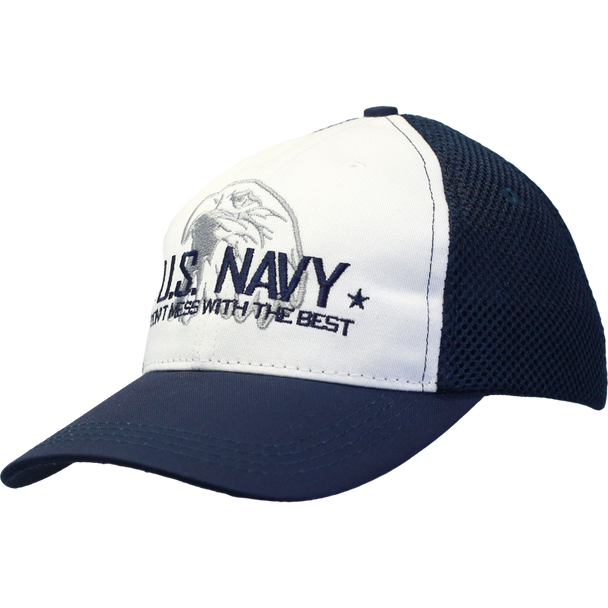 26085 - U.S. Navy Cap - Made in USA - White/Navy Mesh