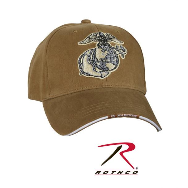Rothco 9827 USMC Eagle Globe & Anchor Cap Low Profile Cotton Coyote Brown