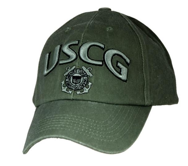 6477 - U.S. Coast Guard 3-D Text Logo Cap Cotton - Olive Drab