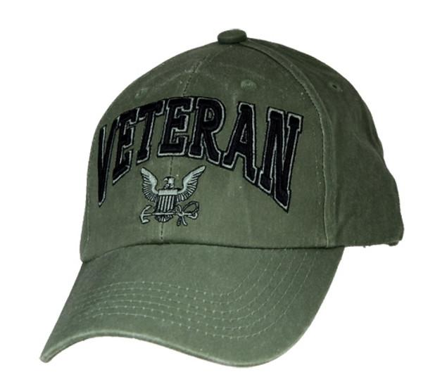 6494 - Veteran 3-D Text U.S. Navy Logo Cap Cotton - Olive Drab