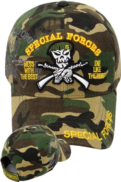 1d8e0ad0faf Special Forces Mess With The Best Die Like The Rest Shadow Cap - Woodland  Camo - USMILITARYHATS.COM