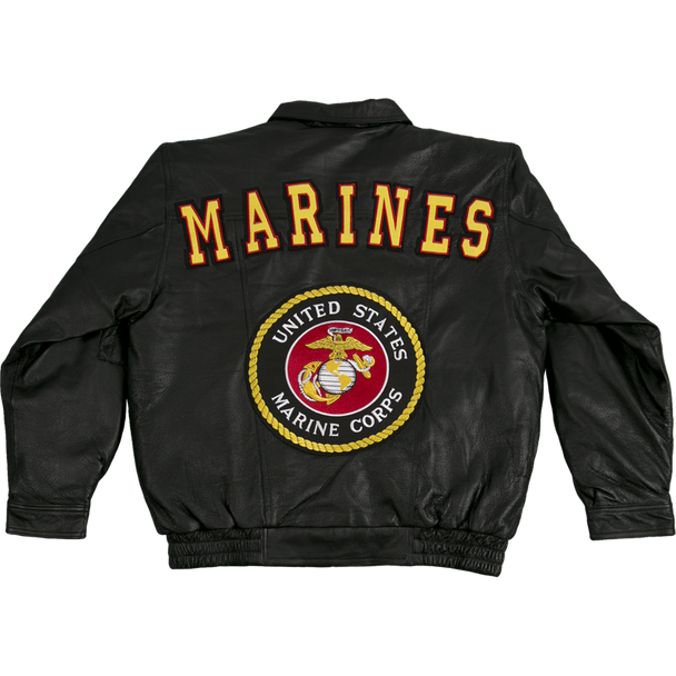 04946 - Marines Leather Bomber Jacket With USMC Logo