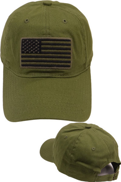 USA Flag Subdued Patch Cap Cotton - Olive Drab