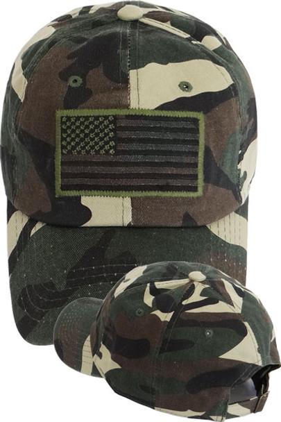 USA Flag Subdued Patch Cap Cotton - Woodland Camo
