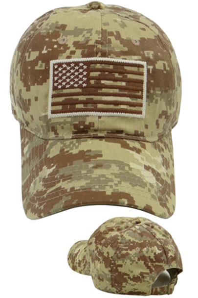 USA Flag Subdued Patch Cap Cotton - Desert Digital Camo