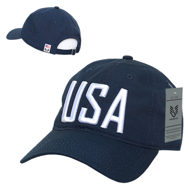 S73 - USA Text Cap - Relaxed Cotton Ripstop - Dark Blue