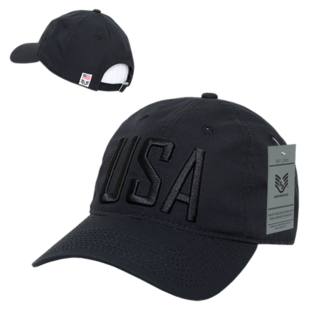 S73 - USA Text Cap - Relaxed Cotton Ripstop - Black