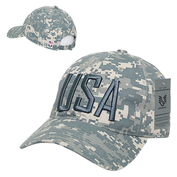 8762ea4f571 S73 - USA Text Cap - Relaxed Cotton Ripstop - ACU Digital Camo -  USMILITARYHATS.COM