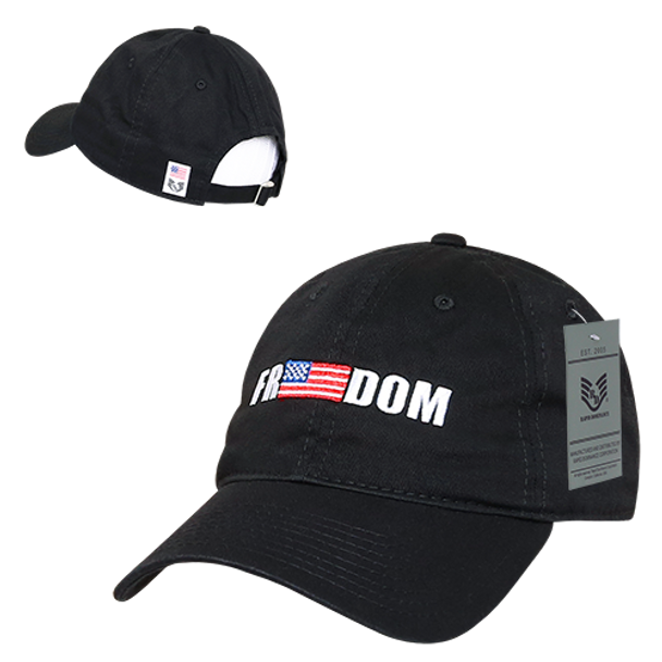 A03 - Freedom USA Flag Cap - Relaxed Cotton - Black