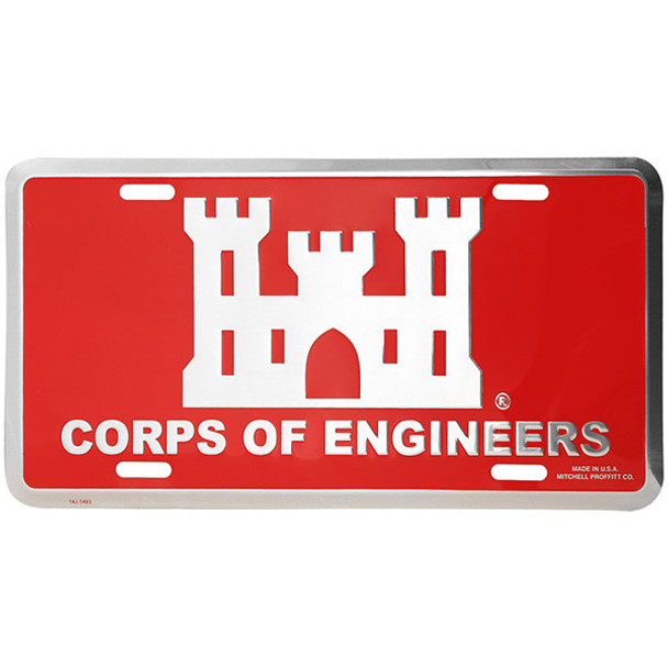 L52 - Corps of Engineers License Plate - Made in USA - Red/Silver