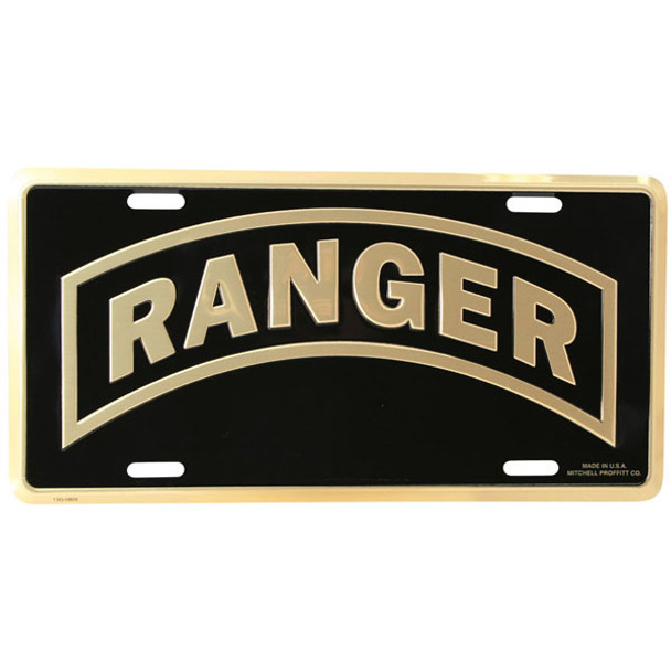 LA11 - Ranger Tab License Plate - Made in USA - Black/Gold