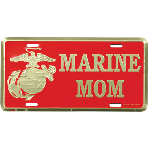 LM30 - Marine Mom with Eagle Globe and Anchor License Plate - Made in USA