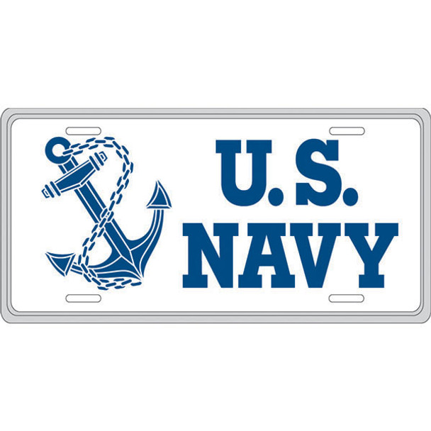 LN52 - U.S. Navy with Anchor License Plate - Made in USA - White/Navy