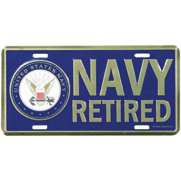 LN26 - U.S. Navy Retired License Plate - Made in USA