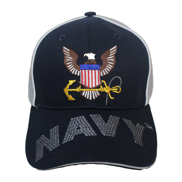34967 - Piped Embroidered U.S. Navy Cap Sandwich Bill - Navy/Gray