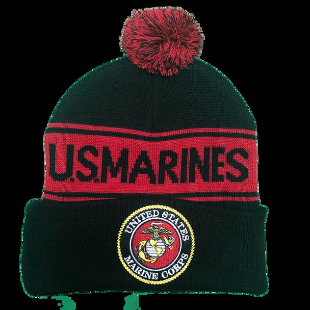 36237 - U.S. Marines Knit Beanie Hat with Pom Pom - Black/Red