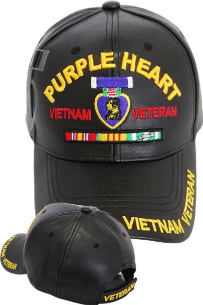 e1133e16eded1 Vietnam Veteran Purple Heart Shadow Cap - Faux Leather - Black ...