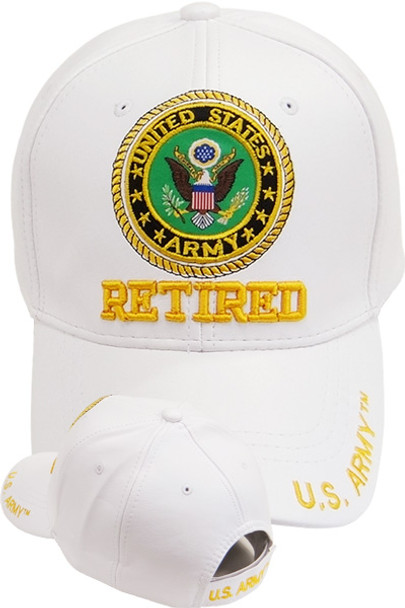 U.S. Army Seal Cap Retired - Faux Leather - White