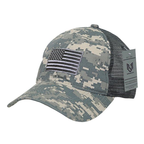 5690531c0a7415 A13 - USA Flag Cap - Ripstop Cotton Trucker Mesh - ACU Camo -  USMILITARYHATS.COM
