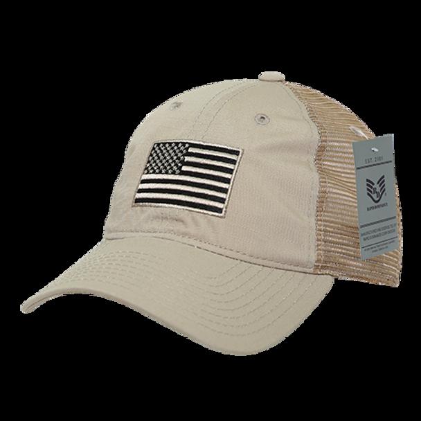 A13 - USA Flag Cap - Ripstop Cotton Trucker Mesh - Khaki