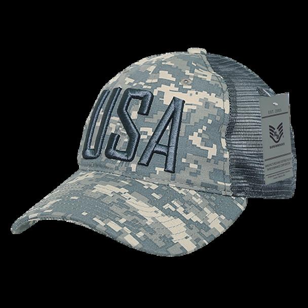 A13 - USA Cap 3-D Text - Ripstop Cotton Trucker Mesh - ACU Camo