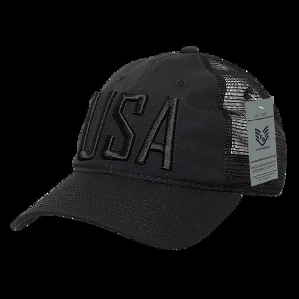 A13 - USA Cap 3-D Text - Ripstop Cotton Trucker Mesh - Black